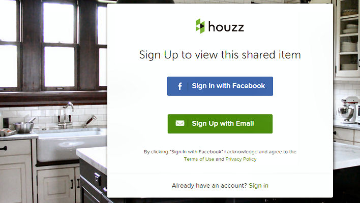 Houzz won't let you in.
